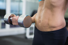 Mid section of fit woman exercising with dumbbell in gym Stock Images