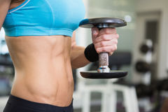 Mid section of fit woman exercising with dumbbell in gym Stock Photography