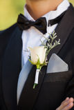 Mid section of flowers on lapel of male Stock Images