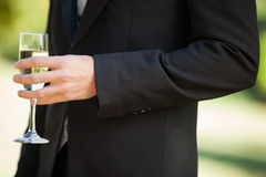 Mid section of a man holding champagne glass at park Stock Photos