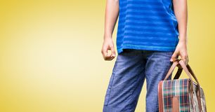 Mid-section of man holding suitcase Royalty Free Stock Image