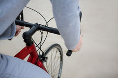 Mid section of man riding bicycle Stock Photos