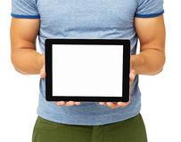 Mid Section Of Man Showing Digital Tablet Stock Image