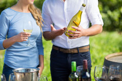 Mid section of man showing wine bottle Royalty Free Stock Images