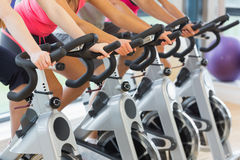 Mid section of people working out at spinning class. Mid section of four people working out at spinning class in gym Royalty Free Stock Photography