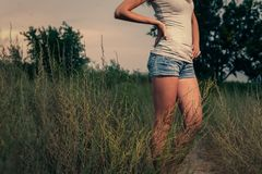 Mid section of a women weared shorts royalty free stock images