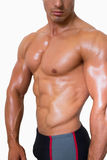 Mid section of shirtless muscular man Royalty Free Stock Image