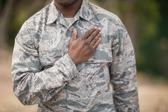 Mid section of soldier taking pledge. In boot camp Royalty Free Stock Photography