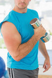 Mid section of a sporty man with dumbbell in gym Royalty Free Stock Photography