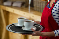 Mid-section of waitress standing with cup of coffee Stock Photos