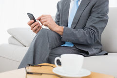 Mid section of a well dressed man text messaging at home Stock Photo