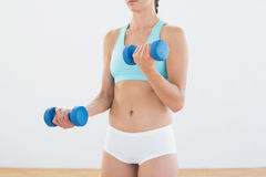 Mid section of a woman with dumbbells at fitness studio Royalty Free Stock Photography