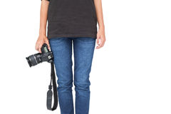 Mid section of a woman holding camera Stock Photos