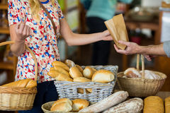 Mid section of woman purchasing bread. Mid section of women purchasing bread in supermarket Stock Image