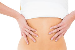 Mid section of a woman suffering from back pain Stock Photo