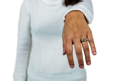 Mid section of woman wearing ring Stock Photography