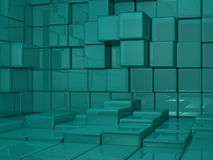 Mid Shot 3D Cube World Green Background. 3D rendered cube room background in teal green, with real world reflections and highlights Stock Photos