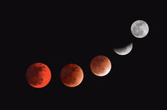 Mid-total-partial lunar eclipse, 10 Dec 11 Bahrain Stock Image