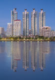 Mid town of Bangkok business area with water reflection Stock Image