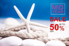 Mid year sale. Discount and promotion concept decoration royalty free stock photography