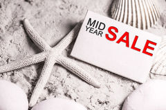 Mid year sale. Discount and promotion concept decoration stock photos
