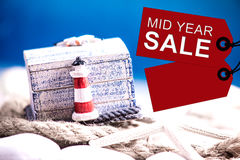 Mid year sale. Discount and promotion concept decoration stock photo