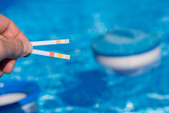 Mida los niveles del agua en la piscina con las tiras de prueba Imagenes de archivo