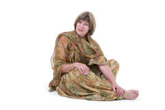 Midage european woman with Indian style clothes Royalty Free Stock Photos
