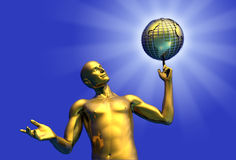 The Midas Touch. 3D render of a gold man with a golden earth globe vector illustration
