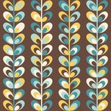 Midcentury geometric retro pattern, vintage colors. Midcentury geometric retro background. Vintage brown, mustard yellow and teal colors. Seamless floral mod Stock Photo