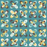 Midcentury geometric retro pattern, vintage colors. Midcentury geometric retro background. Vintage brown, mustard yellow and teal colors. Seamless floral mod Stock Photos
