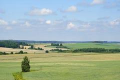 Middag i Juni vidder avstånd Härlig sikt av fälten och småskogen på en solig dag arkivfoton