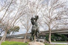Middagmening van Pony Express Statue in beroemde Oude Sacramen stock foto's