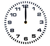Midday. Twelve o'clock on a white background Royalty Free Stock Image