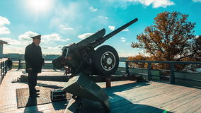 Midday Cannon Shot From The Fortress stock video footage