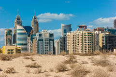 Midday heat in the desert in the background buildingsl on Nov 1 Stock Image
