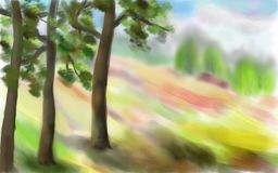 Midday heat. Summer bright landscape. Trees on the hillside. The composition is made in the technique of pastel painting Royalty Free Stock Photos