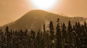 Midday Orange Haze over the Mountain. A midday orange haze blurs the distant mountain and surrounding treeline on this winter day Royalty Free Stock Photo