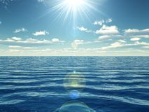Midday sailing. 3d render of sunny day in the middle of the ocean stock illustration