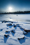 Midday sunset in polar landscape Stock Images
