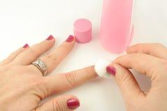 Middel om nagellak te verwijderen Stock Fotografie