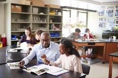 Middelbare schoolprivé-leraar Sitting At Desk met Vrouwelijke Student In Biology Class royalty-vrije stock foto