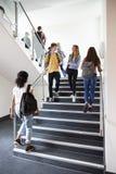 Middelbare schoolstudenten die op Treden tussen Lessen in de Bezige Universiteitsbouw lopen stock fotografie