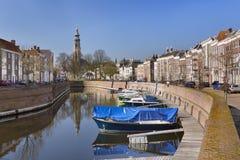 Middelbourg avec l'église de Lange janv. aux Pays-Bas image libre de droits