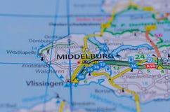 Middelburg en mapa imagen de archivo