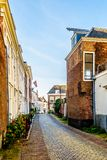 Sunset over Narrow Streets in the Historic City of Middelburg royalty free stock photos