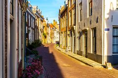 Sunset over Narrow Streets in the Historic City of Middelburg royalty free stock photo