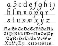 Middeleeuws alfabet stock illustratie