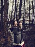 Middeleeuws boogschieten, vrouwenspruit stock afbeelding
