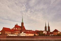 Middeleeuws deel van WrocÅ 'aw in Polen royalty-vrije stock foto